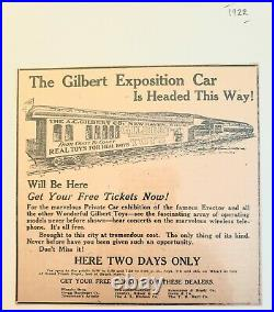 1922 very cool ad Traveling GILBERT TOYS exhibit ERECTOR SET. TRAINS