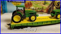 Athearn John Deere HO flat car for train set, 8410 tractor load very nice
