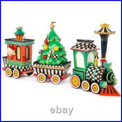 MacKenzie-Childs courtly check Christmas Train SET Very HTF Rare and New in Box