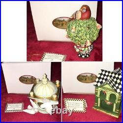 McKenzie -Childs courtly check Christmas Train SET Very HTF Rare new 3 Pieces
