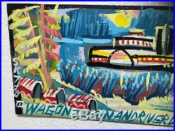 Outsider Art Oil Painting Signed Wagon Train and River Boat Set Very Cool
