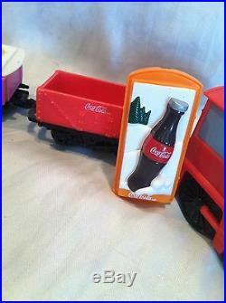 Pre-owned Vintage Santa Claus Coca Cola 4 Pc Plastic Train Set Very Nice