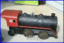 Rare 1930's Cor Cor 5 Piece Pressed Steel Metal Toy Train Set Very Nice