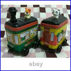 Tottoko Hamtaro Hamutaro & Ribbon chan Cute Printed Train Can Tin very cute set