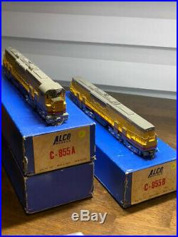 VERY RARE SET Alco D-107/D-105 HO Scale BRASS C-855 A & B Powered Diesel Trains