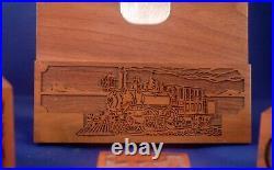 Very Nice Vtg 4 Pc Railroad Train Inspired Walnut Laser Engraved Desk Set