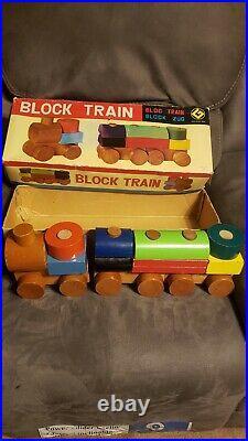 Very Rare JAPAN Tsukudaya Wood Wooden Block Train Set Matsui Toy Terauchi Design