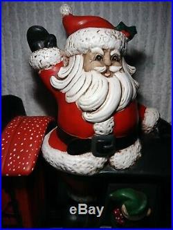 Vintage Ceramic Christmas Train Storage Container 3 Pc Set Handpainted VERY RARE